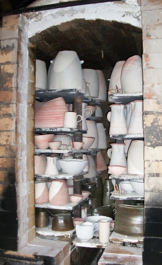 Mandy Parslow, wood-fired salt-glaze kiln packed and ready to fire.