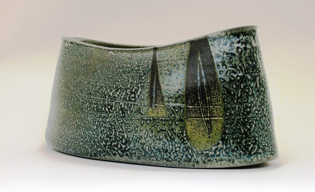 Mandy Parslow, wheel thrown and altered wood fired salt glazed stoneware.