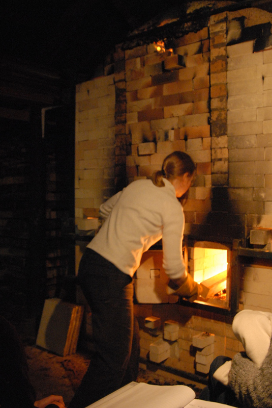 Mandy Parslow, firing the wood fired salt glaze kiln in Tipperary